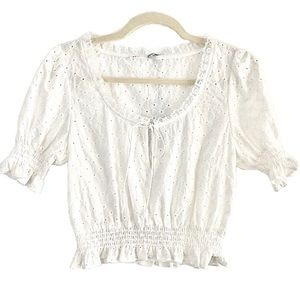 New After Market White Eyelet Lace Trim Crop Top